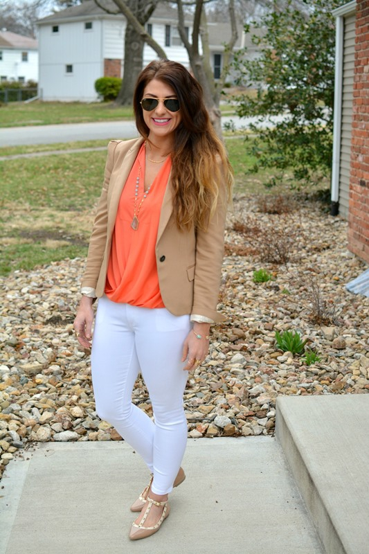 ashley from lsr, golden tote coral wrap blouse, white gap resolution skinny jeans