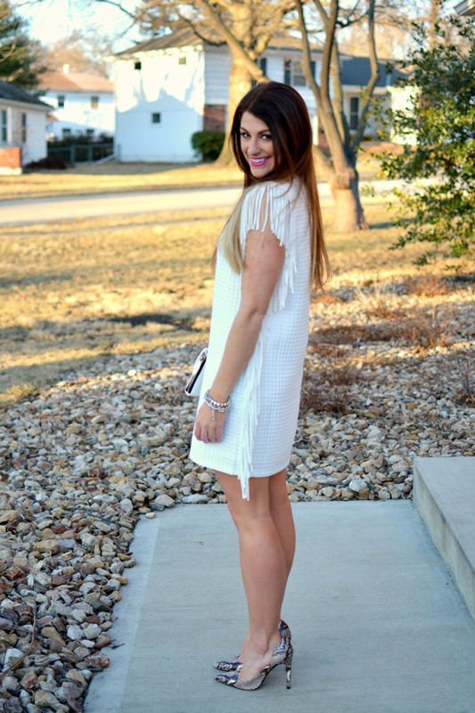 ashley from lsr, white fringed waffle knit dress, zara snakeskin pumps