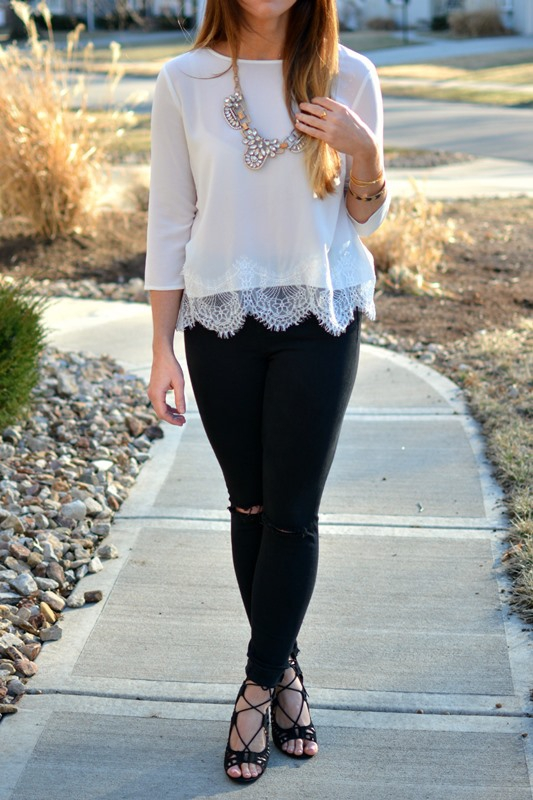 ashley from lsr, bb dakota white samuela cropped lace top, jcrew statement necklace