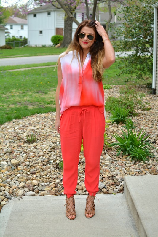 ashley from lsr, elie tahari kasha blouse, coral joggers, dolce vita helena sandals