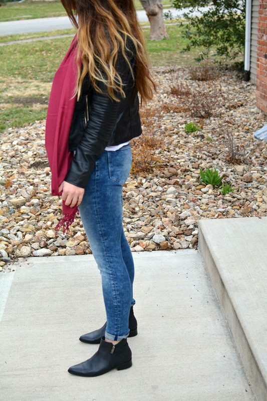ashley from lsr, biker jacket, marsala scarf, acid wash jeans