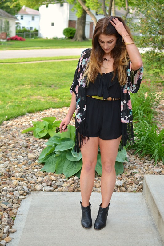 ashley from lsr, black billabong dream escape romper, floral fringe kimono, madewell ankle booties