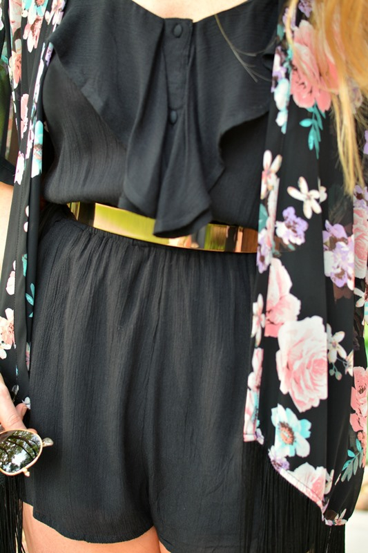 ashley from lsr, black billabong dream escape romper, floral fringe kimono, asos metal belt