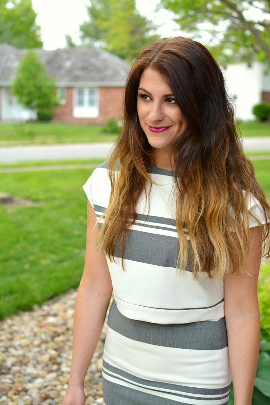 ashley from lsr, elizabeth and james colton striped crop top and striped pencil skirt