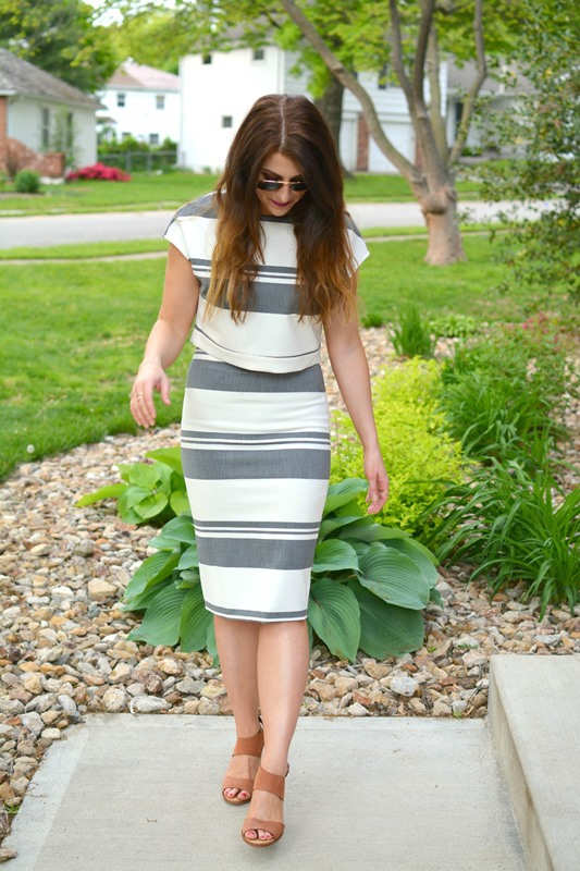 ashley from lsr, elizabeth and james colton striped crop top and striped pencil skirt, dolce vita jodi wedges