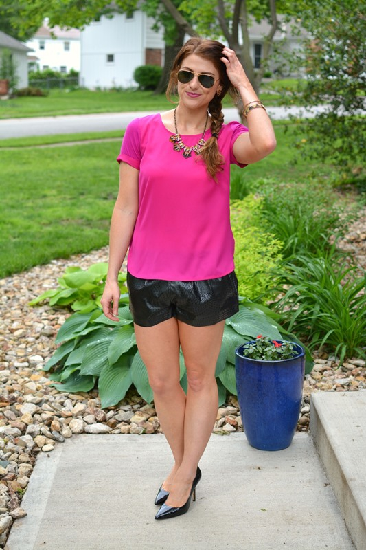 ashley from lsr, sioni tulip twist top, blank nyc leather shorts, charles david pumps