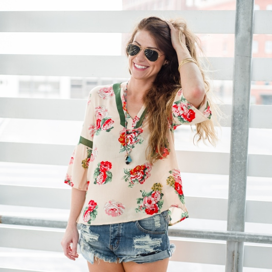ashley from lsr, medley floral surprise blouse, one teaspoon bandit shorts
