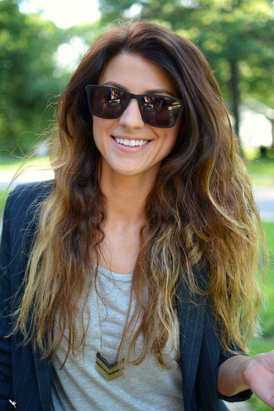 ashley from lsr, pinstriped blazer, innotec denton sun sunglasses