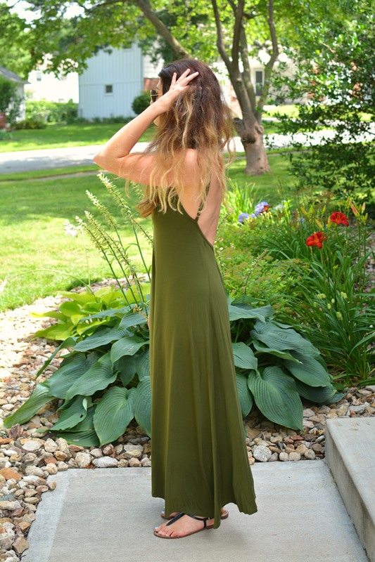 ashley from lsr, green backless maxi dress