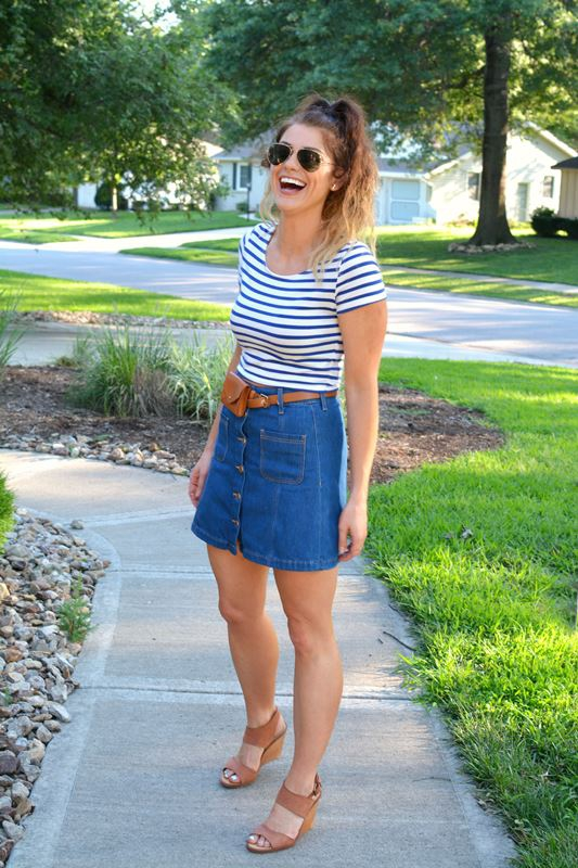 ashley from lsr, sincerely jules h&m denim skirt, striped crop, madewell hip belt