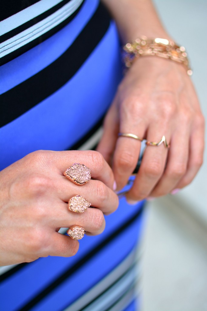 ashley from lsr, kendra scott rose gold naomi 3-finger ring
