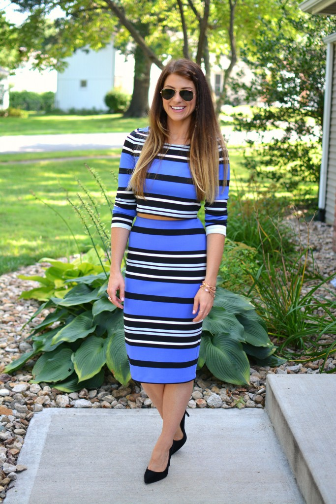 ashley from lsr, express blue striped scuba set, topshop gemini pumps