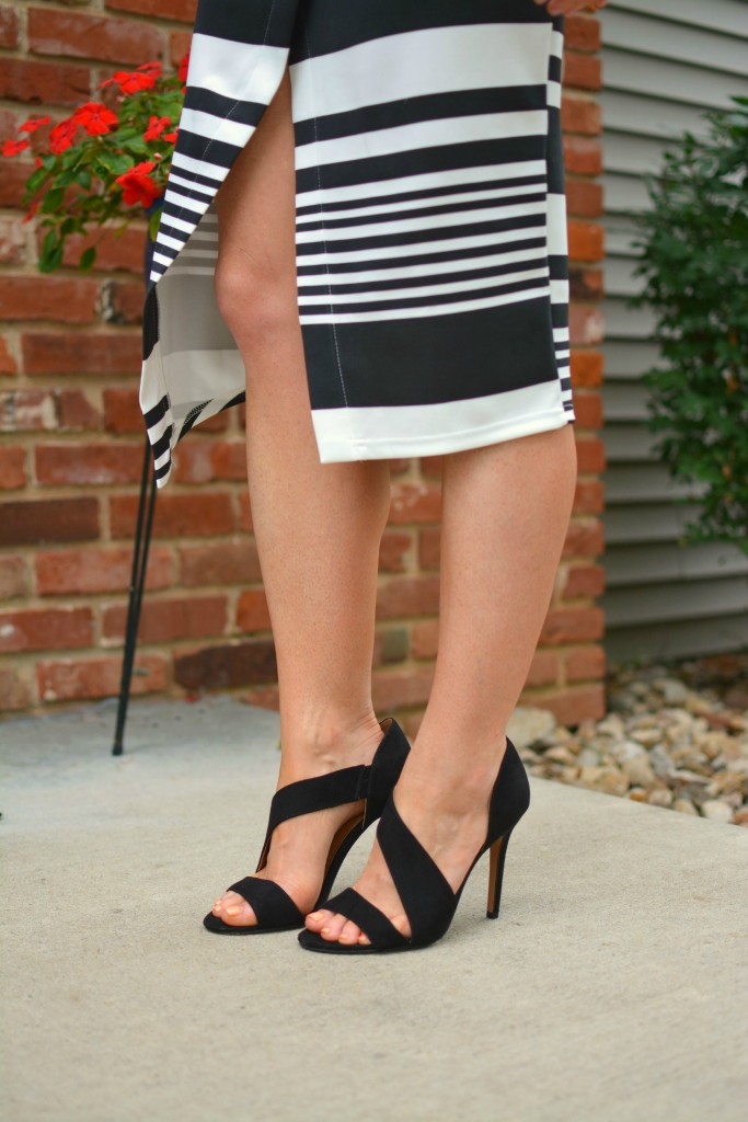 ashley from lsr in an asos striped midi skirt and h&m pumps