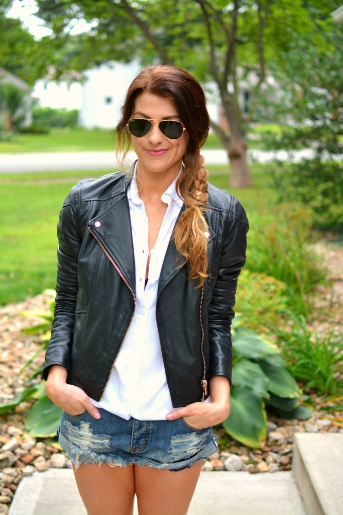 ashley from lsr in river island leather jacket and one teaspoon bandit cutoffs