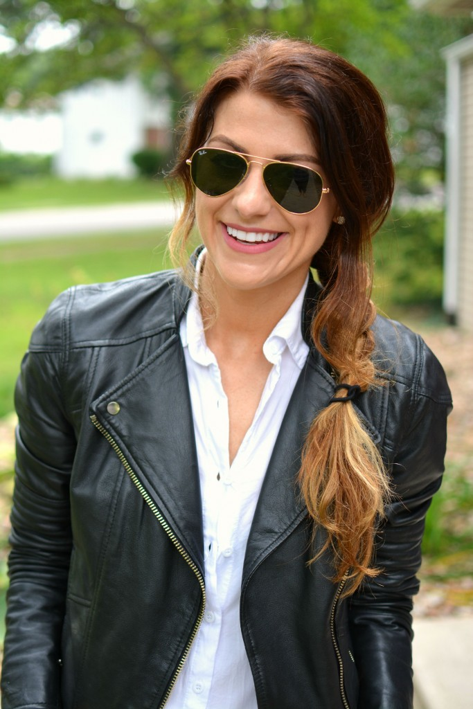 ashley from lsr in river island leather jacket and ray-ban aviators