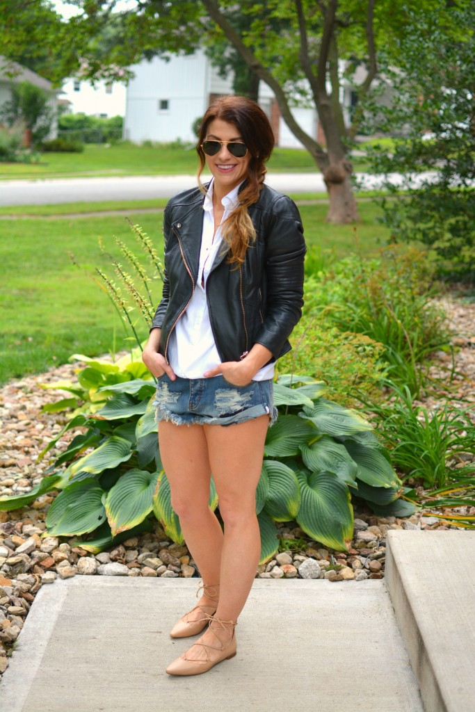 ashley from lsr in river island leather jacket, one teaspoon bandit cutoffs, and lace-up flats