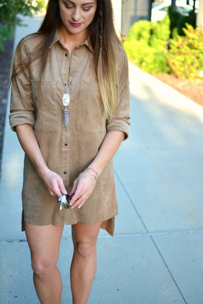 Ashley from LSR in an H&M faux suede shift dress and Kendra Scott howlite necklace