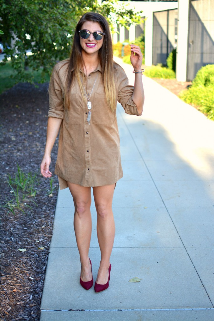 Ashley from LSR in an H&M faux suede shift dress and pumps, and Kendra Scott howlite necklace