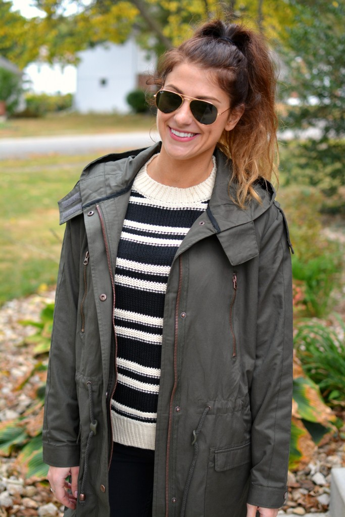 Ashley from LSR in a lightweight parka (glastonbury coat) and striped H&M sweater.