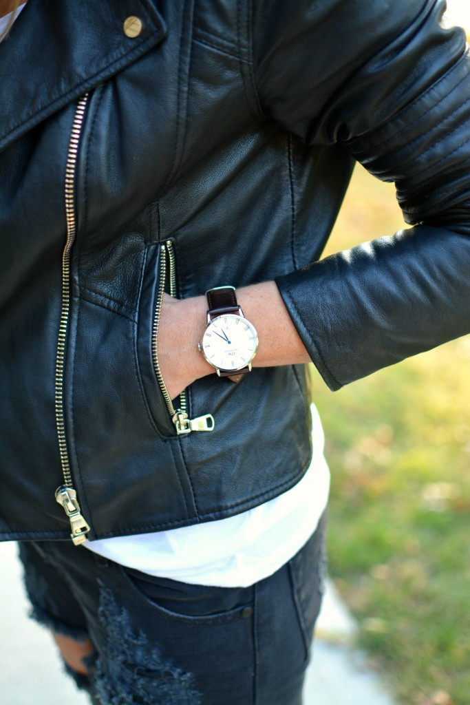 Ashley from LSR in a Daniel Wellington Dapper Bristol watch and River Island leather jacket.