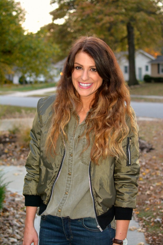 Ashley from LSR in an olive green bomber jacket and Express shirt.