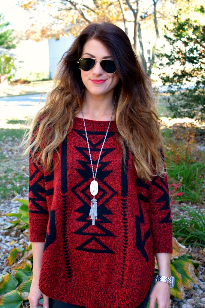 Ashley from LSR in an Express sweater and a Kendra Scott marble Rayne necklace.