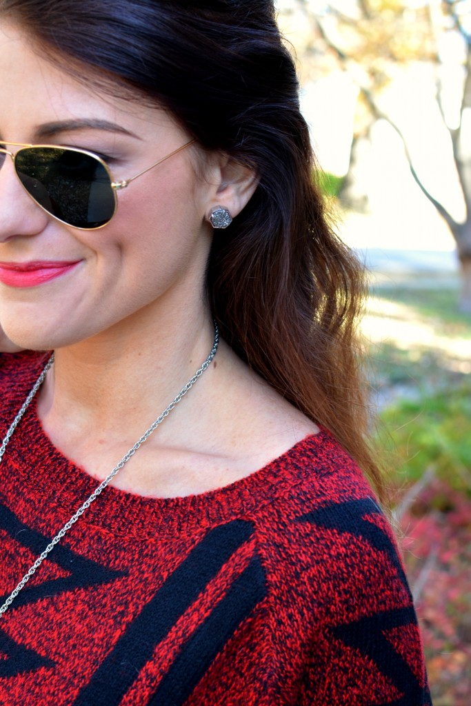Ashley from LSR in an Express sweater and Kendra Scott drusy earrings.