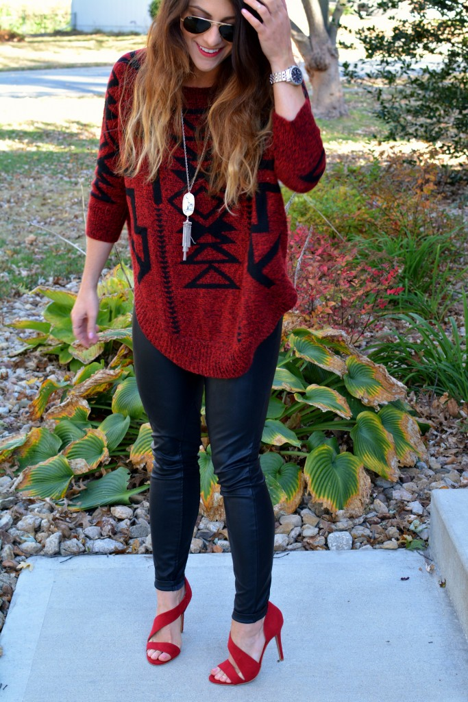 Ashley from LSR in an Express sweater, Blank NYC leather leggings, and burgundy pumps.