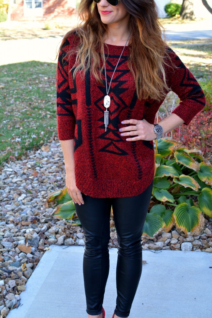 Ashley from LSR in an Express sweater, Blank NYC leather leggings, and a Kendra Scott marble Rayne necklace.