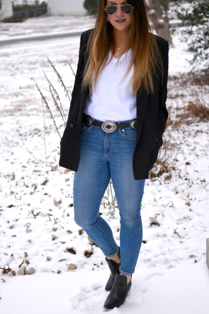 Ashley from LSR in a vintage Brooks Brothers blazer, a concho belt, and Steve Madden Dextir boots