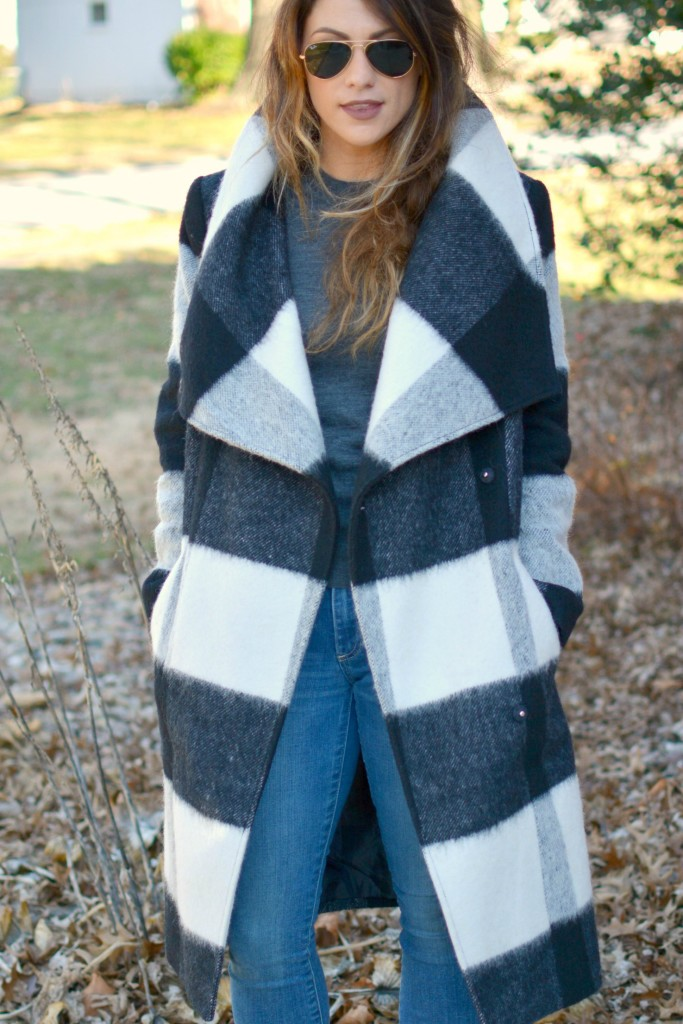 Ashley from LSR in a plaid statement coat and Gap jeans