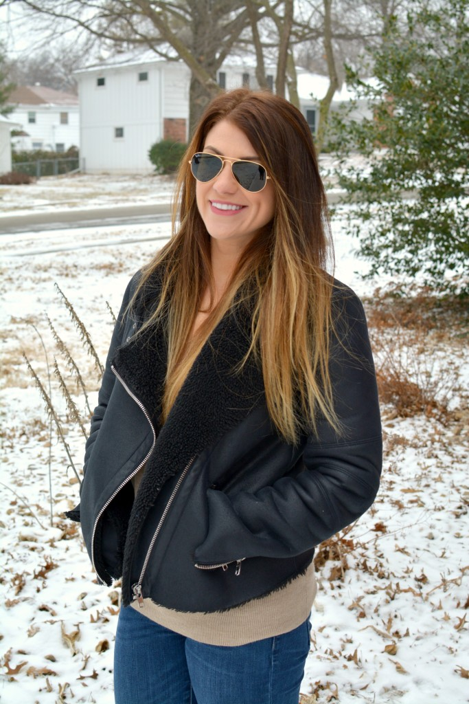 Ashley from LSR in a shearling moto jacket