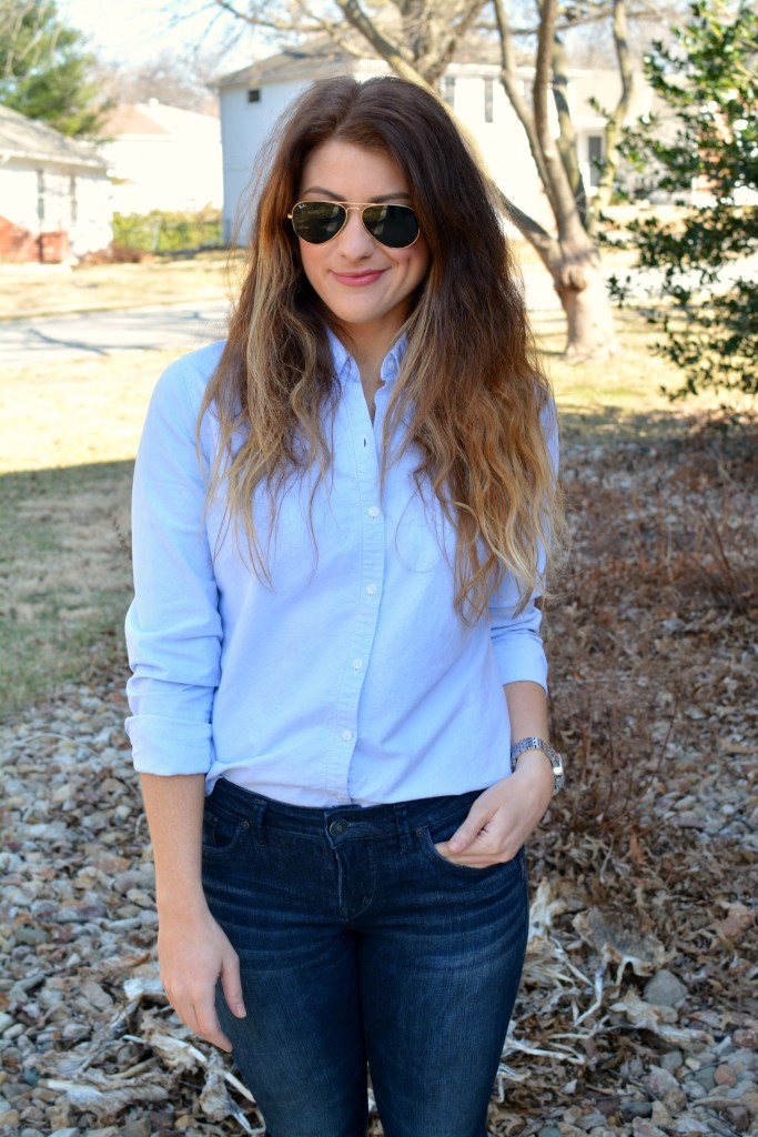 Ashley from LSR in a light blue button-up and Silver jeans.