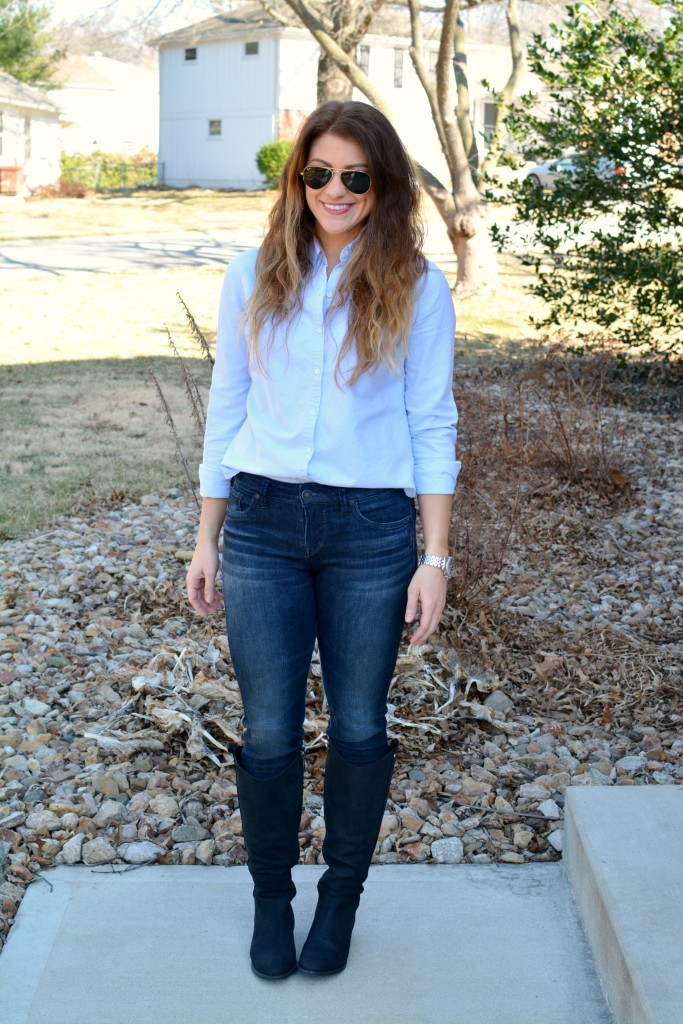 Ashley from LSR in a light blue button-up and Ted and Muffy boots