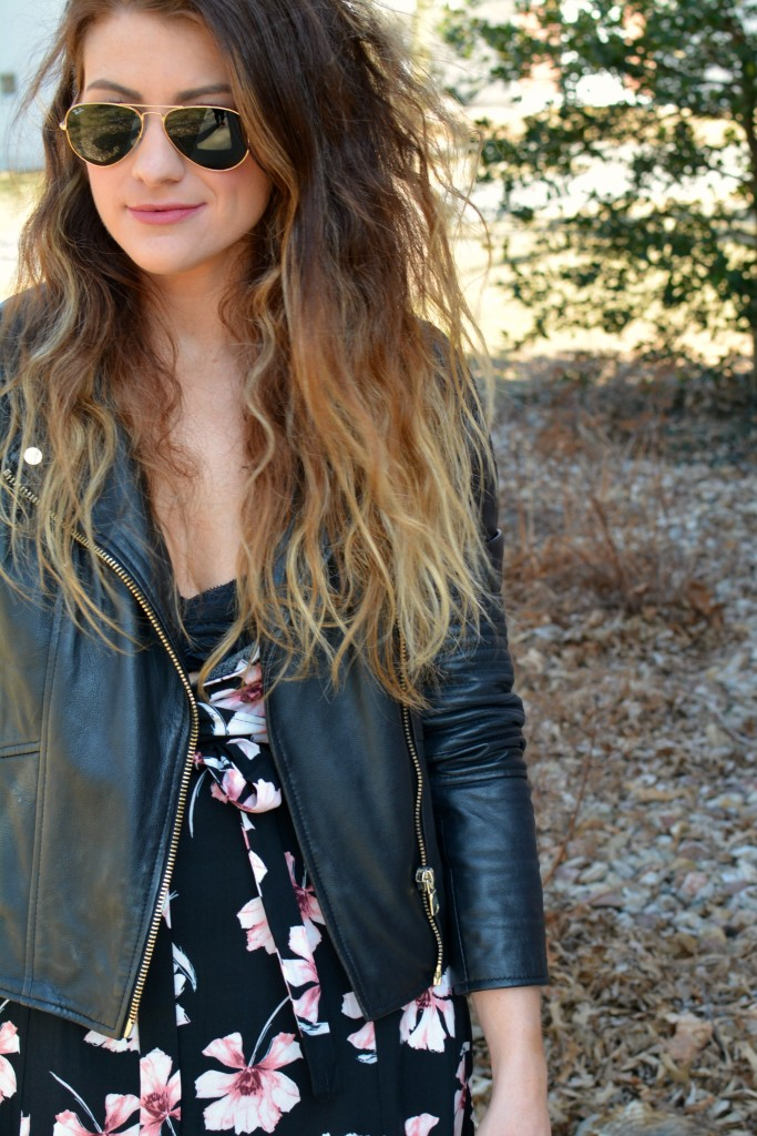 Ashley from LSR in a floral maxi dress and leather jacket