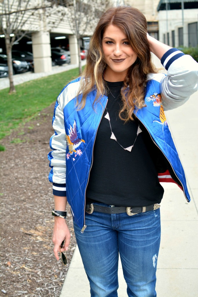 Ashley from LSR in a Topshop souvenir jacket and a western double buckle belt for KCFW 2016