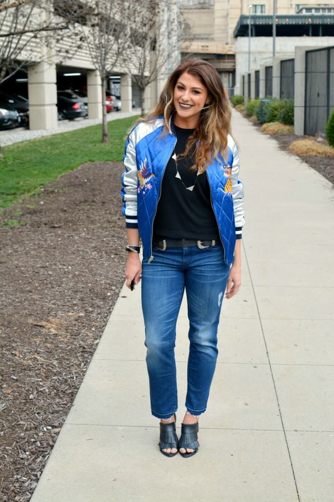 Ashley from LSR in a Topshop souvenir jacket, Gap jeans, and fringe sandals for KCFW 2016