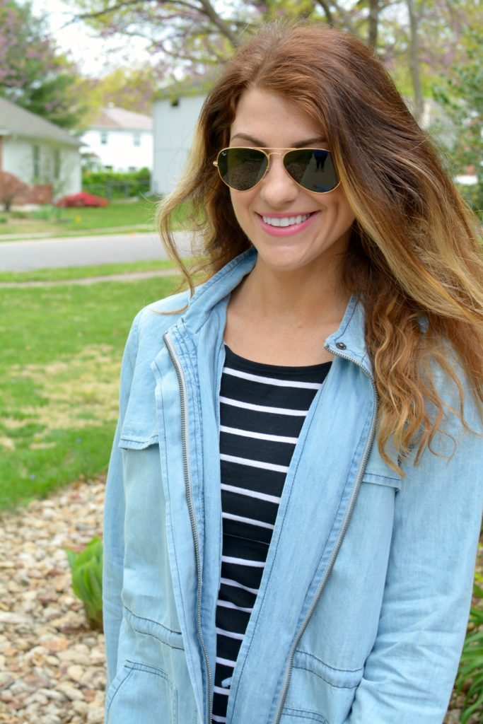 Ashley from LSR in a BB Dakota chambray jacket and black stripes