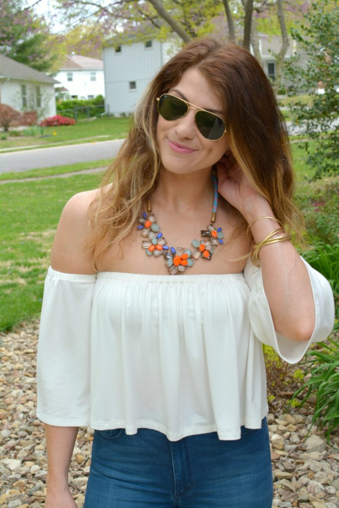 Ashley from LSR in the Rachel Pally off-the-shoulder top and JCrew statement necklace