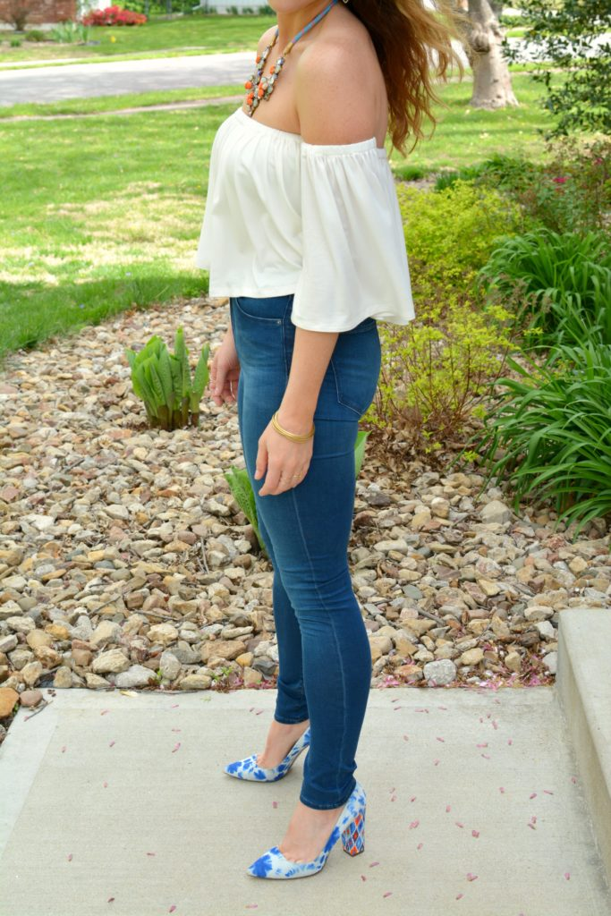 Ashley from LSR in the Rachel Pally off-the-shoulder top and tie dye pumps