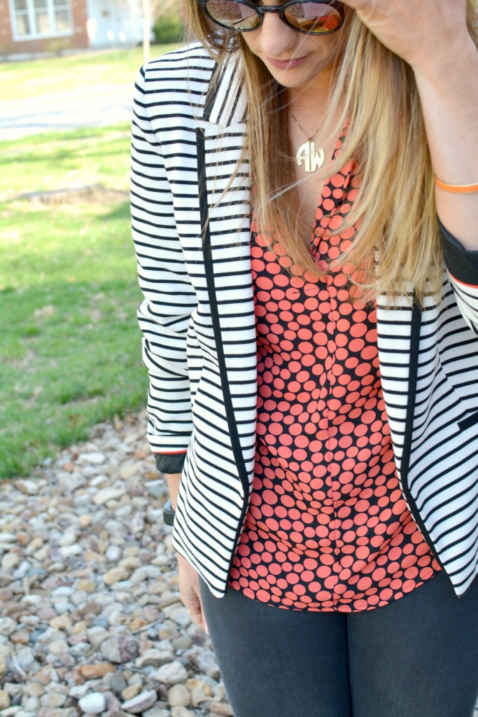 Ashley from LSR in a striped blazer and a printed blouse