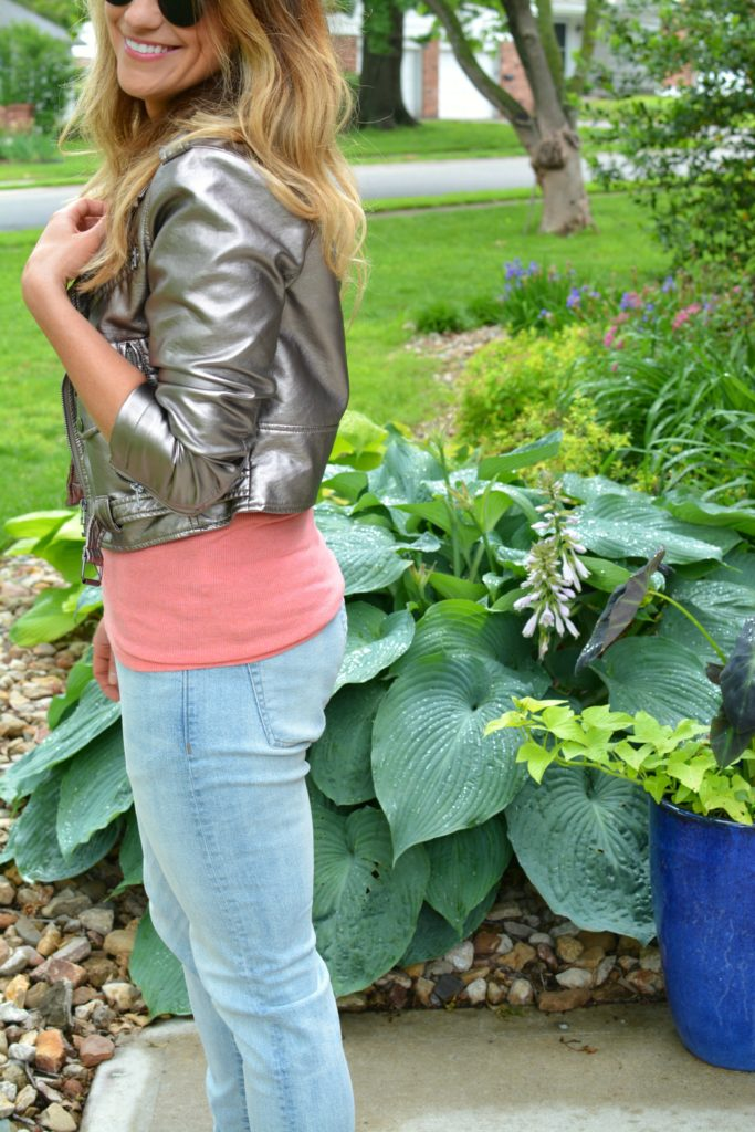 Ashley from LSR in a silver moto jacket and men's H&M denim