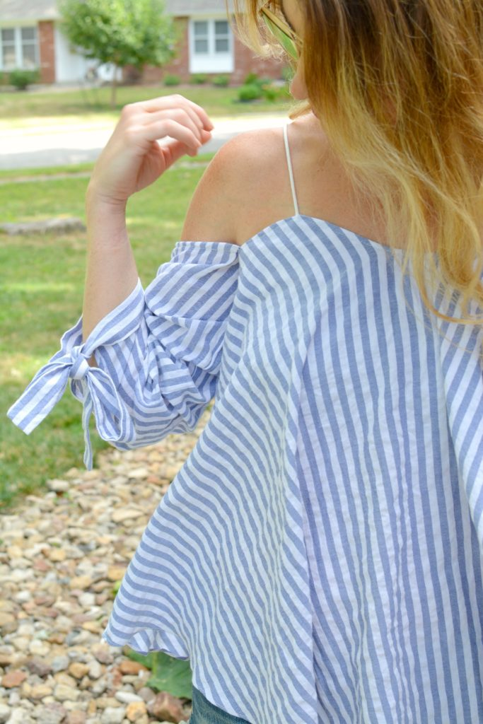 Ashley from LSR in an off-the-shoulder striped top