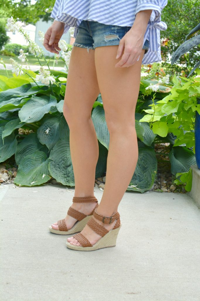 Ashley from LSR in brown rope wedges