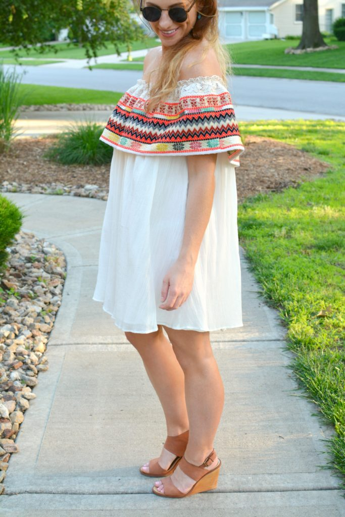 Ashley from LSR in an off-the-shoulder embroidered dress with leather wedges