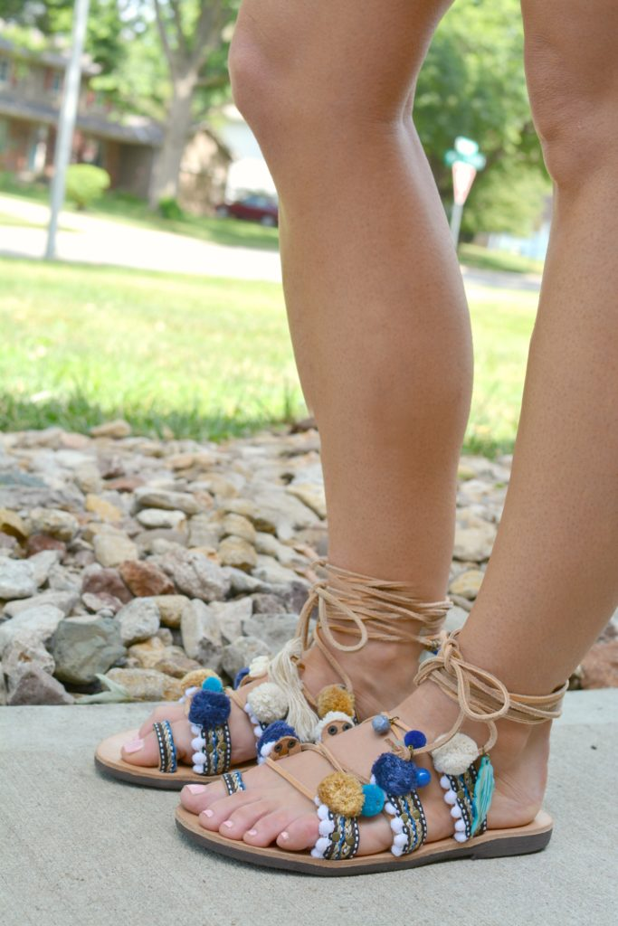 Ashley from LSR in pom pom lace-up sandals