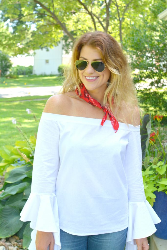 Ashley from LSR in a white off-the-shoulder statement blouse and The Limited denim,