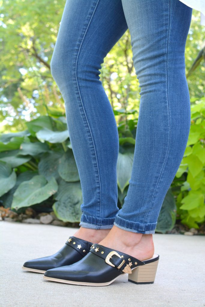 Ashley from LSR in The Limited denim and leather mules