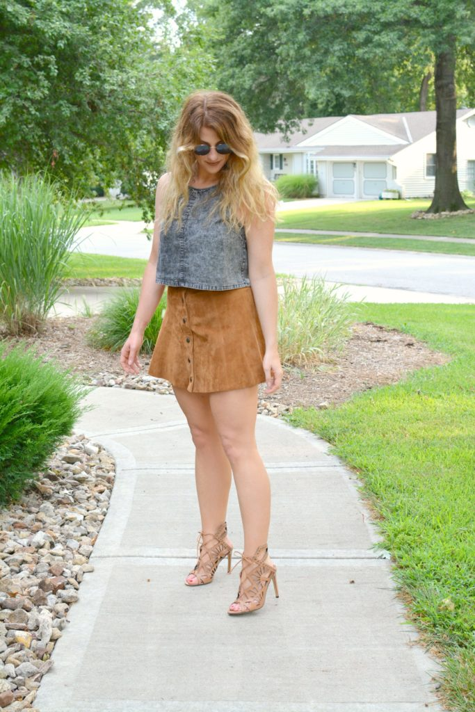 Ashley from LSR in an acid wash crop top and faux suede skirt