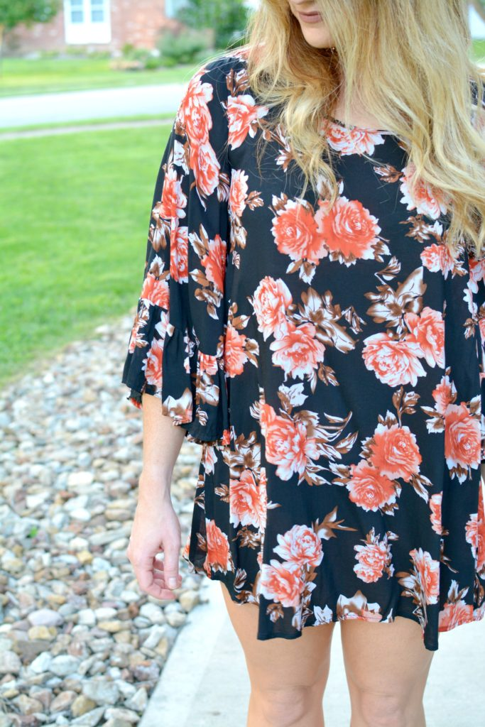 Ashley from LSR in a dark floral dress